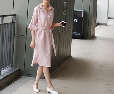 [MOP07KY其他]薰衣草亚麻衬衫连衣裙