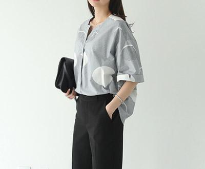 [MBL24P231加捻]条纹圆点图案女衬衫