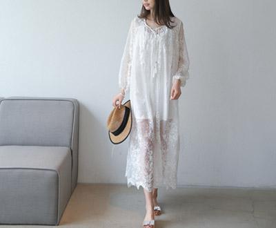 [ASET05OJN_N4]安娜真丝蕾丝连衣裙