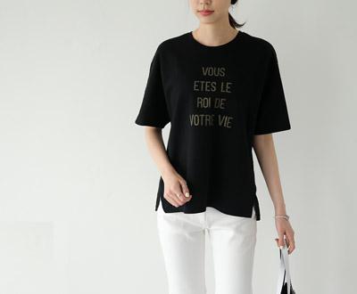 [MCTP85P283]弧或背花边T恤