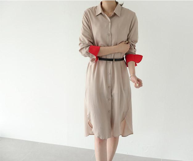 [FSH72P280]红色配色别致长款衬衫